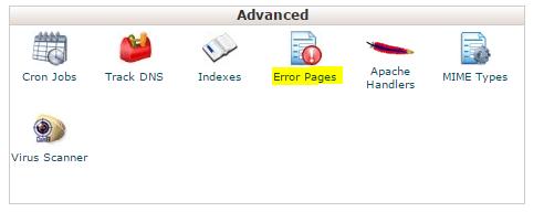 روی نماد خطاهای صفحات در قسمت پیشرفته کلیک کنید.