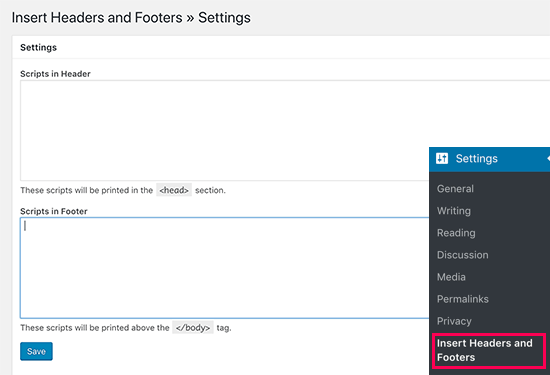 Insert Headers and Footers plugin settings