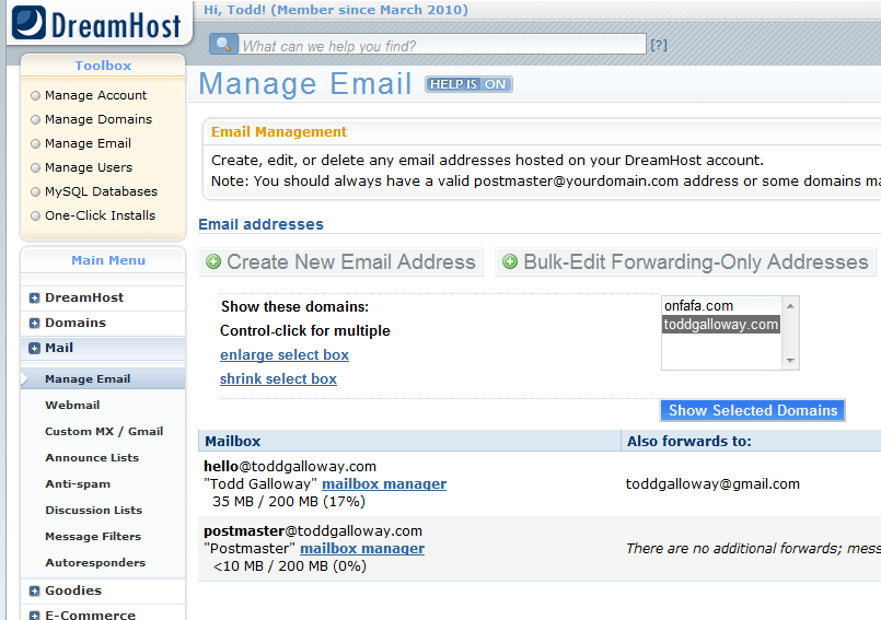 هاست اشتراکی Dreamhost با کنترل پنل هاستینگ اختصاصی